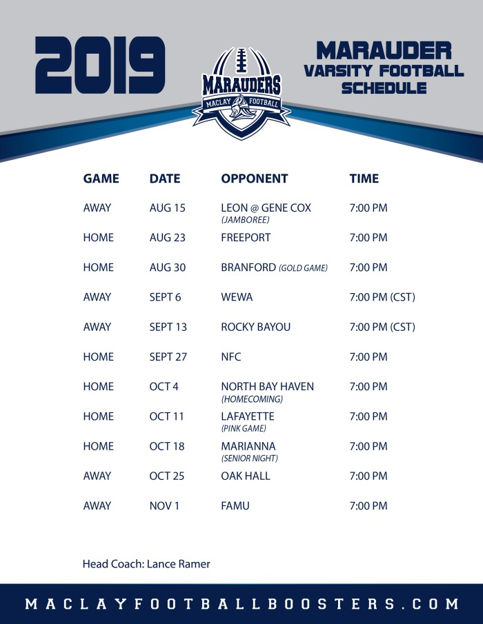 Maclay Football Schedule Fall 2019